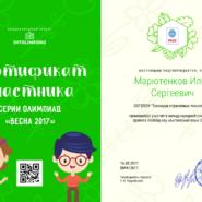 Марютенков Илья Сергеевич - сертификат